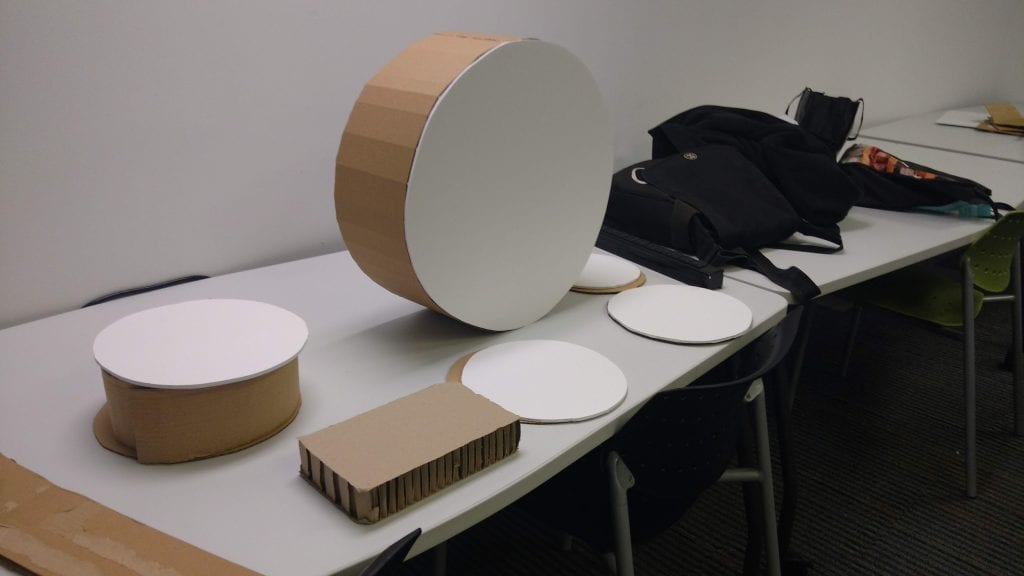 Construction process for cardboard electric drum kit.