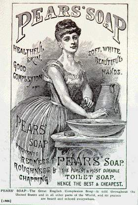 "An advertisement for Pears' Soap from 1886, marketed towards women. ""Healthful skin, good complexion and soft, white, beautiful hands. Pears' Soap prevents redness, roughness, and chapping. Pears' Soap. The purest and most durable toilet soap. Hence the best and cheapest. PEARS SOAP - The great English complexion soap - is for sale throughout the United States and in all other parts of the world, and its praises are heard and echoed everywhere."" Jones, Edgar R. Those Were the Good Old Days: a Happy Look at American Advertising, 1880-1930. Simon & Schuster, 1959."