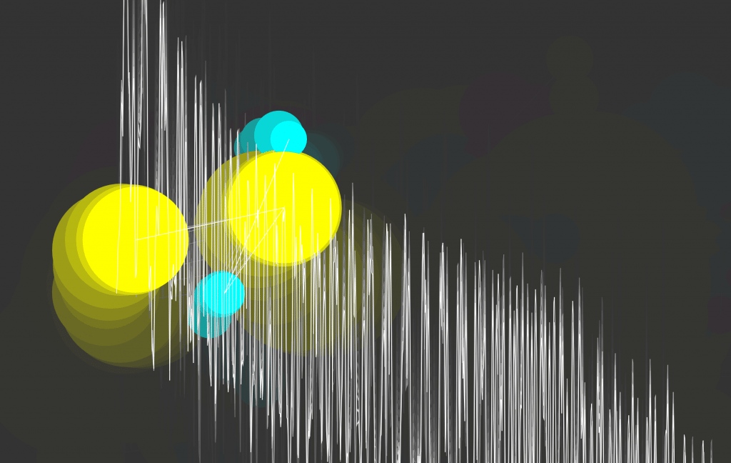 Colour Tracking and Audio Visualization of Cyan and Yellow (With Colour Trails)
