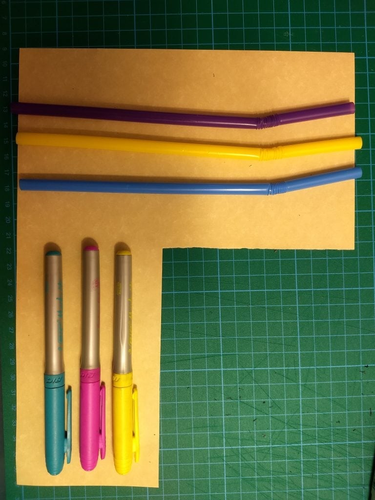 The coloured objects I used for tracking.