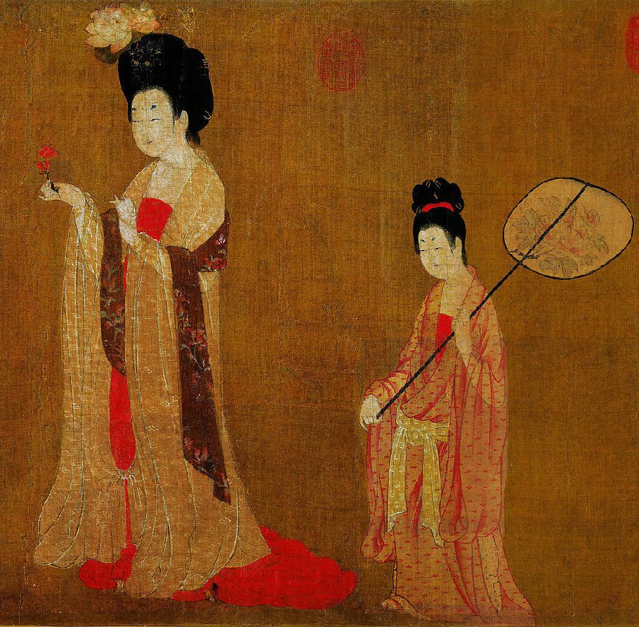 Zhou Fang, Ladies Wearing Flowers in Their Hair, c. late 8th–early 9th century, handscroll, ink and color on silk, 46 x 180 cm (Liaoning Provincial Museum, Shenyang province, China)