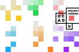 Astract blocks of colour with OCAD U visual identity
