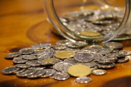 Coins from a change jar