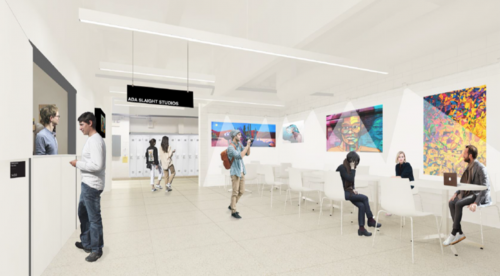 Concept rendering of new student hub in the Slaight Studios.