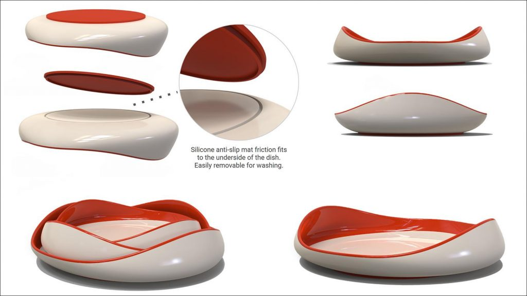 """Blum"" assistive dining plates with anti-slip base by Sydney Cooling-Sturges"