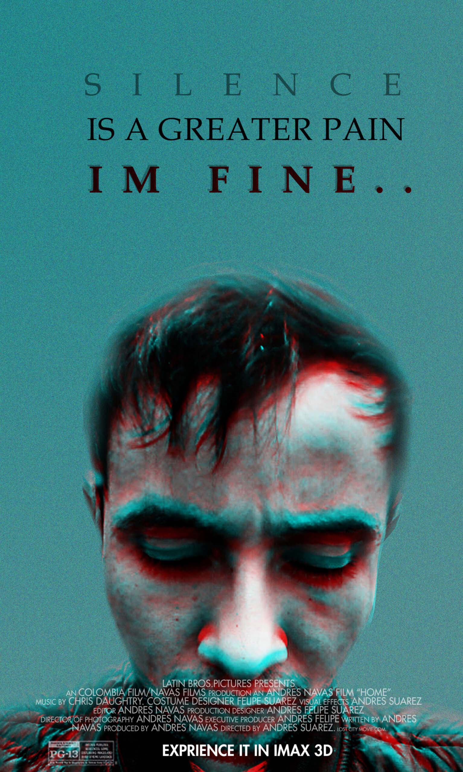 "Poster by Andres Navas. ""Silence is a greater pain, I'm fine.. """