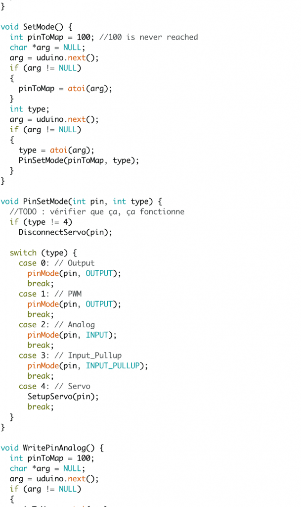 screenshot - Uduino code [cont'd]