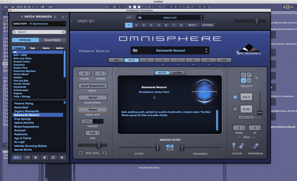 Omnisphere 2.0 VST in Ableton - sound library