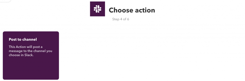 Only 1 action available under the Slack service