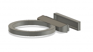 Figure 2: Salt Ring, back view, with the fitted lid offset in front.