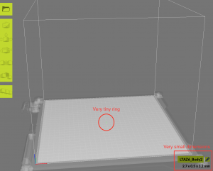 Figure 4: An screenshot form when I imported my incorrectly sized model into Cura.