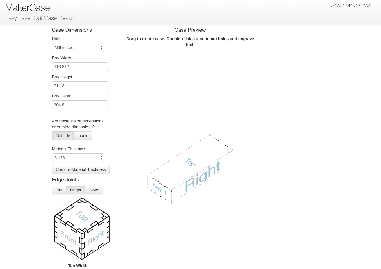 The interface of the MakerCase tool which makes the process of creating the edge joints super easy