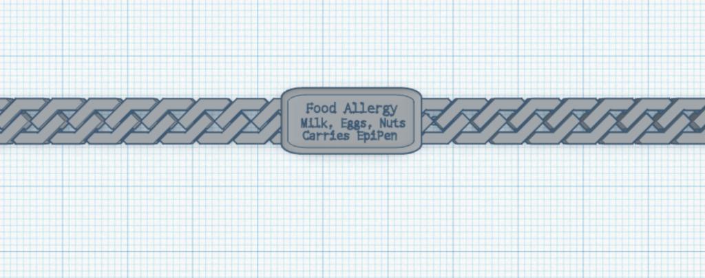 Customized medical alert bracelet.