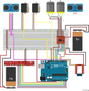 The schematic diagram drawn using Fritzing.