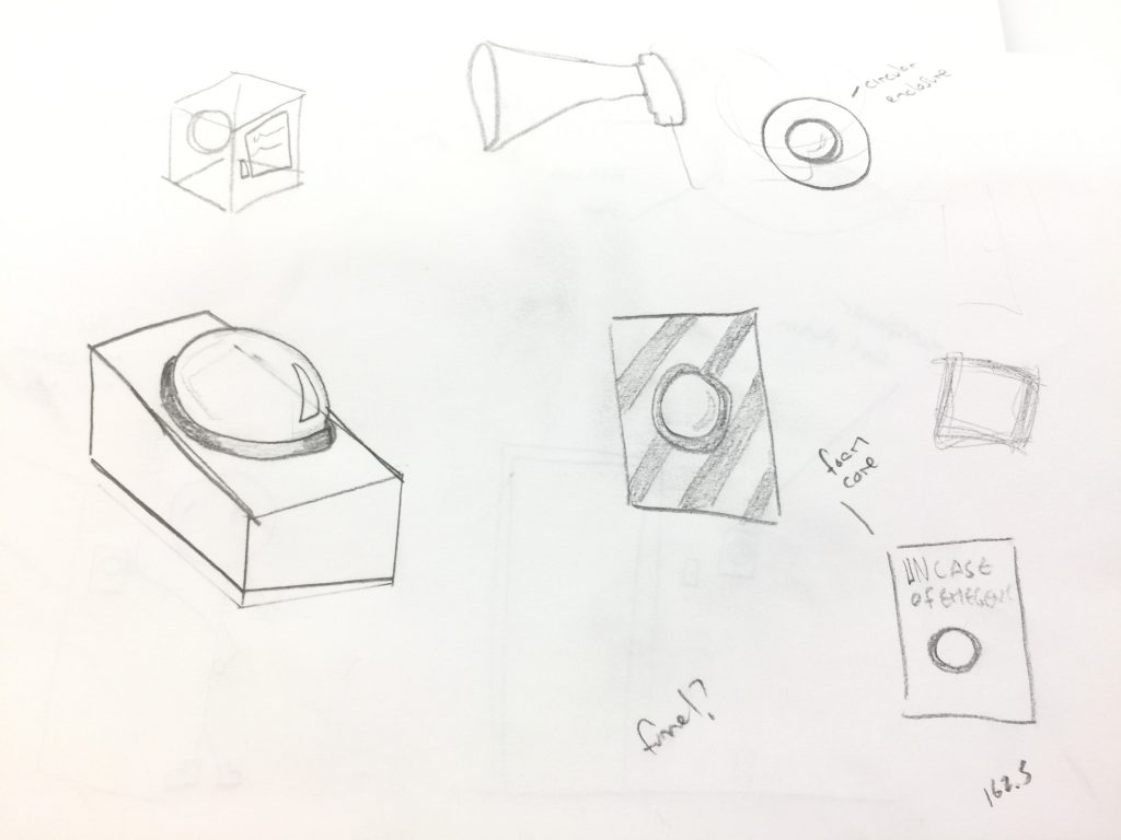 Rough sketches of button and speaker design.