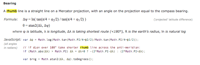 Rhumb line bearing calculations from 'Movable Type Scripts'