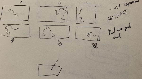 Figure 4. Brainstorming different stroke outputs on different canvases side by side. Square stroke, star stoke, ellipse strokes etc,.