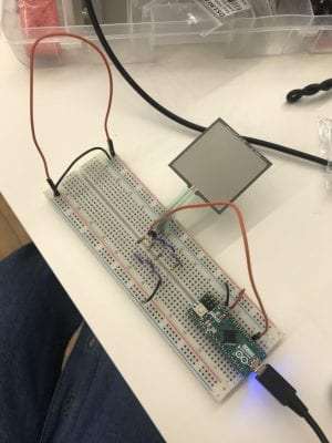 Figure 4: The FF&L sensor connected to the Arduino, using a parallel circuit of four 330 resistors.