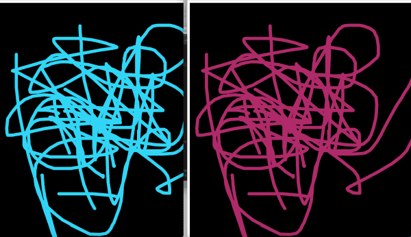 Figure 7. Side by side canvases outputting the same strokes with randomized colours through the PubNub server.