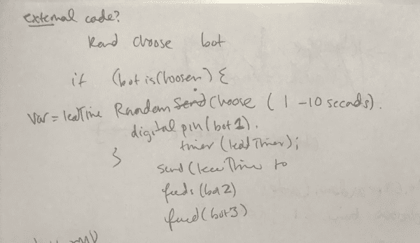 "Our ""pseudo-code"" hand written out for Marco Polo bots"