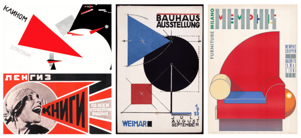 From left to right, posters from the Constructivism, Bauhaus, Memphis Movements