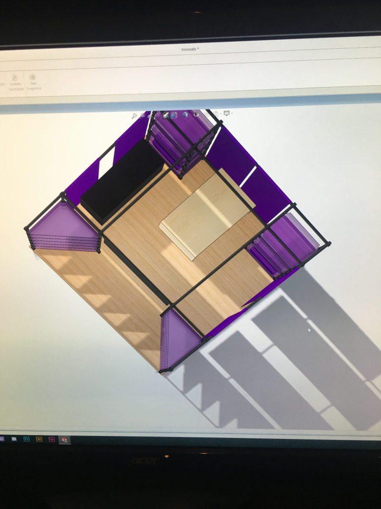 Work in Progress I: Bird's eye view of 10x10' CAD space