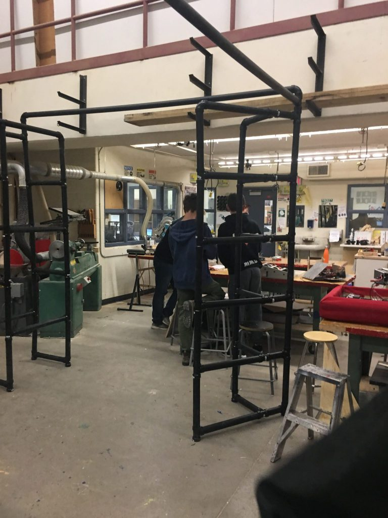 Work in Progress III: Assembly of PVC Pipes and testing of TV mounts with students
