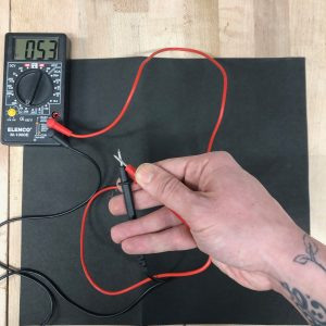 Testing the conductivity & resistance on the Eeonyx Conductive Fabric at different distances