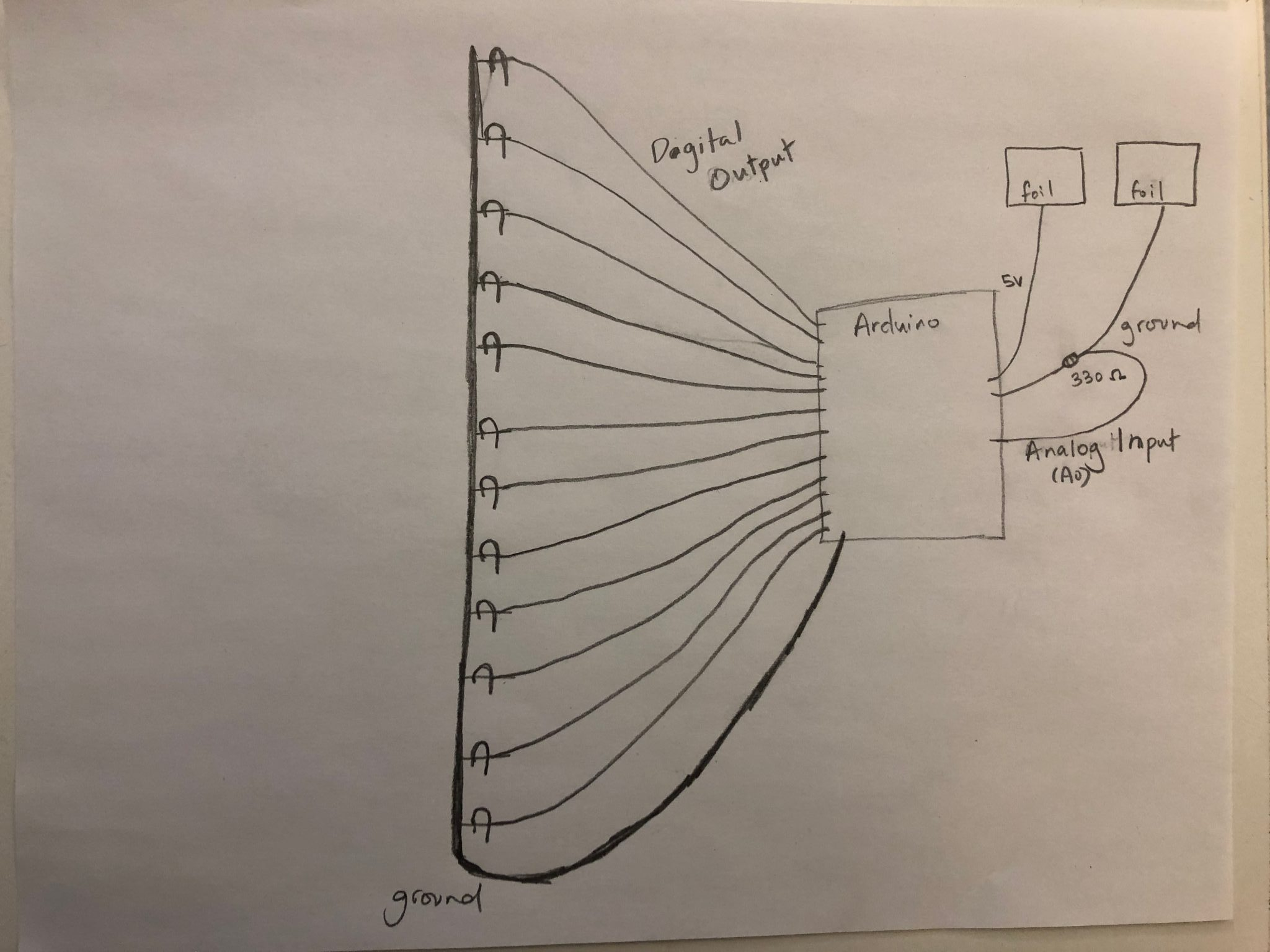 A sketch of the LEDs wiring for the chain link design