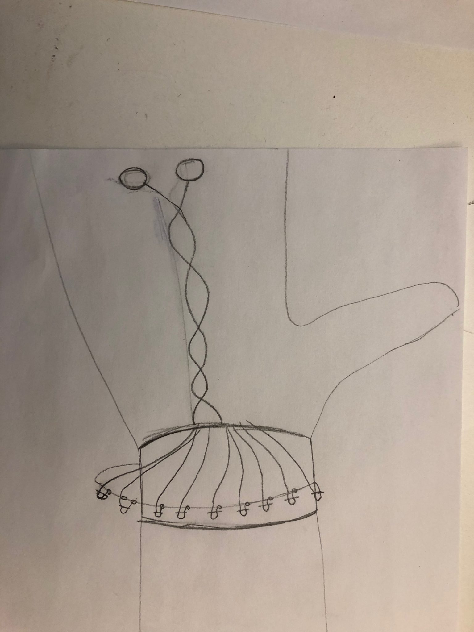 A sketch of the bracelet in the chain link design