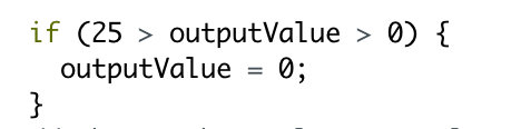 Arduino code that sets the value to 0 if the incoming reading is below 25. This is to stop the vibration motor from flickering.