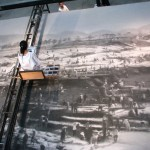 """Zhang Huan at work on """"Grand Canal"""". Note the containers of ash."""