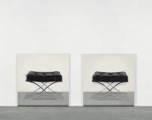 Cynthia Daignault, Barcelona Stool, 2011 Oil on linen, In 2 parts:  34 x 34 inches each