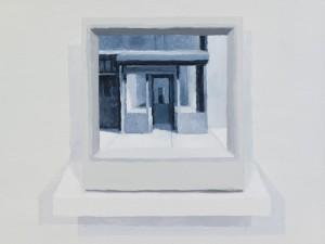 "Cynthia Daignault, CCTV Monitor, Oil on linen, 12"" x 16"",  2012"