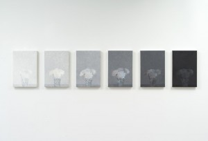 Cynthia Daignault Over-under, 2013, Oil on linen, 6 parts: 15 x 10 inches each