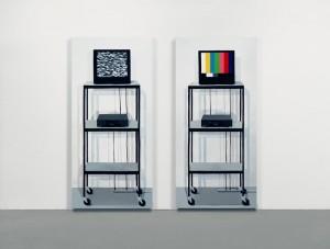 Cynthia Daignault, Screen Test, Screen Test: No Signal and Screen Test: Test Screen, 2011, Oil on linen, 72 x 34 inches each