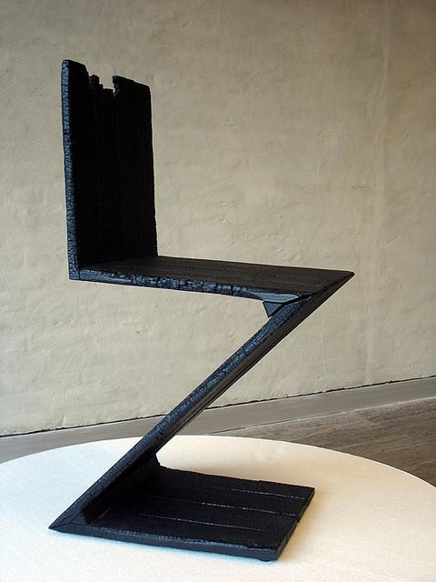 Burnt Rietveld Zig Zag Chair By Maarten Baas