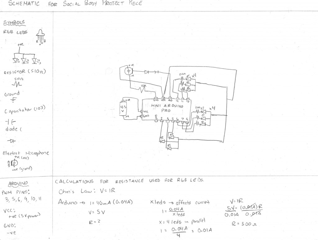 Social Body Project Wearable Technology 2 2012 Led Circuit Additionally Rgb Diagram On Fade The Schematic Provided Describes All Connections And Calculations Made To Make Less Complex I Just Indicated Amount Of Leds