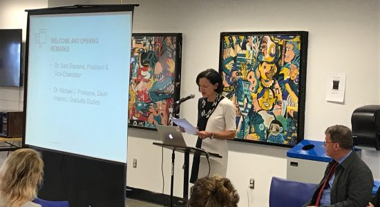 Dr. Sara Diamond welcoming grad students