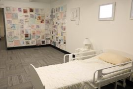 Kristi Poole-Adler and Ellen Snowball's two-part installation Ghost Stories recreates a long-term care facility room.