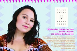 Hi everyone, This is a friendly reminder that we are hosting Tanya Tagaq at OCAD U this Wednesday February 13 from 7-8:30pm. I am interviewing Tanya about her recent book Split Tooth. It is expected to be a very busy event, and I would recommend that you arrive early to guarantee yourselves seats. For more info see the Facebook event page here. If you have read the book and have a question that you would like for me to ask Tanya please give me a shout - otherwise there will be time for Q and A at the event. See you there! Best, Suzanne
