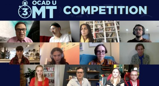 OCAD U 3MT participants & judges. L to R: Ashok Mathur, Peter Morin, Sarita Srivastava​, Tyson Moll, 2nd row L to R: Bekky O'Neil, Veda Adnani, Tabitha Fisher, Danny Welsh
