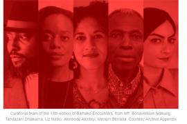 Photo of Curatorial team of the 13th edition of Bamako Encounters, from left: Bonaventure Ndikung, Tandazani Dhlakama, Liz Ikiriko, Akinbode Akinbiyi, Meriem Berrada. Courtesy Archive Appendix
