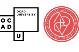 OCADU logo and Association of Independent Colleges of Art and Design (AICAD) logo