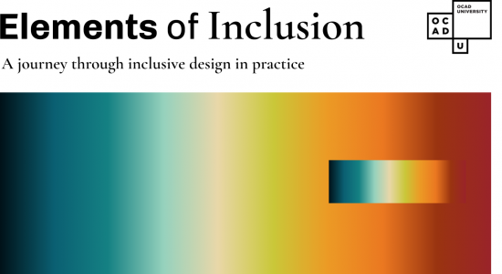 Elements of Inclusion: A journey through inclusive design in practice. Rainbow gradient, dark blue to orange from left to right.