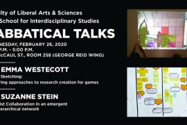 """Please join the Faculty of Liberal Arts & Sciences and School of Interdisciplinary Studies for 2 sabbatical talks by Dr. Emma Westecott and Dr. Suzanne Stein. -- DR. EMMA WESTECOTT Game Sketching: Exploring approaches to research creation for games Digital games are a critical form in which makers express models of play that create meaning beyond entertainment. Game culture is pervasive and amidst a wider technological context that invites all our active participation provides one setting for creative self-expression. Games collapse the distance between makers and players in a uniquely active manner and whilst this work is interested in possibilities for game making, all players co-create their own gameplay experience, which holds potential for enacting individual agency. Based on experience introducing game design and development education at OCAD over the past decade as part of the Digital Futures program, this paper develops some early discussions around the concept of game sketching to both pedagogic and research creation ends. -- DR. SUZANNE STEIN """"Feminist Collaboration in an emergent non-hierarchical network"""" Stein explores a cluster of research projects and the need to revisit project management processes to allow for knowledge exchange and project formation. She discusses the linking between projects based on issues of feminism, collaboration and ICT/M sectors and discusses the need to create a non-hierarchical hub for expansion and inspiration. This is important in cross-sectoral collaborations that have differing and changing needs and resources. -- This is event is free to the public and located in an accessible venue."""
