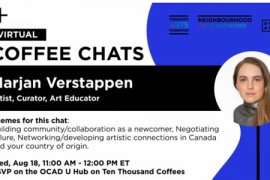 Virtual Coffee Chats with Marjan Verstappen. Wednesday August 18 2021, 11:00AM-12:00.