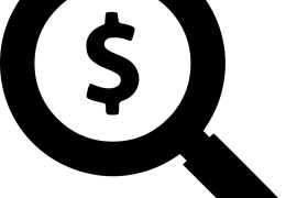 Black and white icon of magnifying glass with a dollar sign in the middle to indicate searching for funds or money.