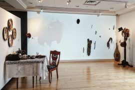 Jill Price: Unfurled Installation Shot Featuring Works Entitled Face Setting Homecoming Family Tree And Refurbished Photos