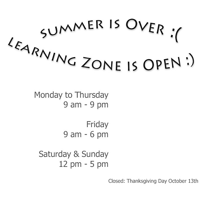 Learning Zone 2014 Fall Hours